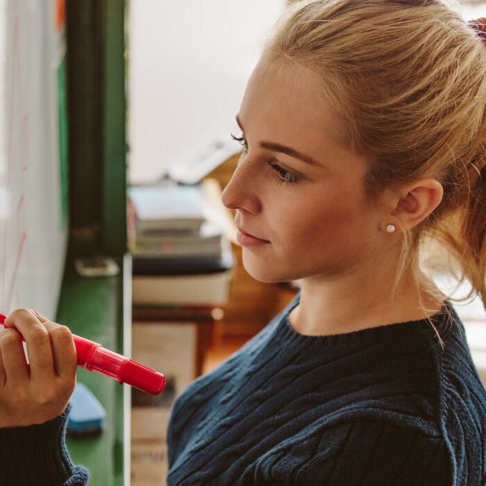 lady with red pen